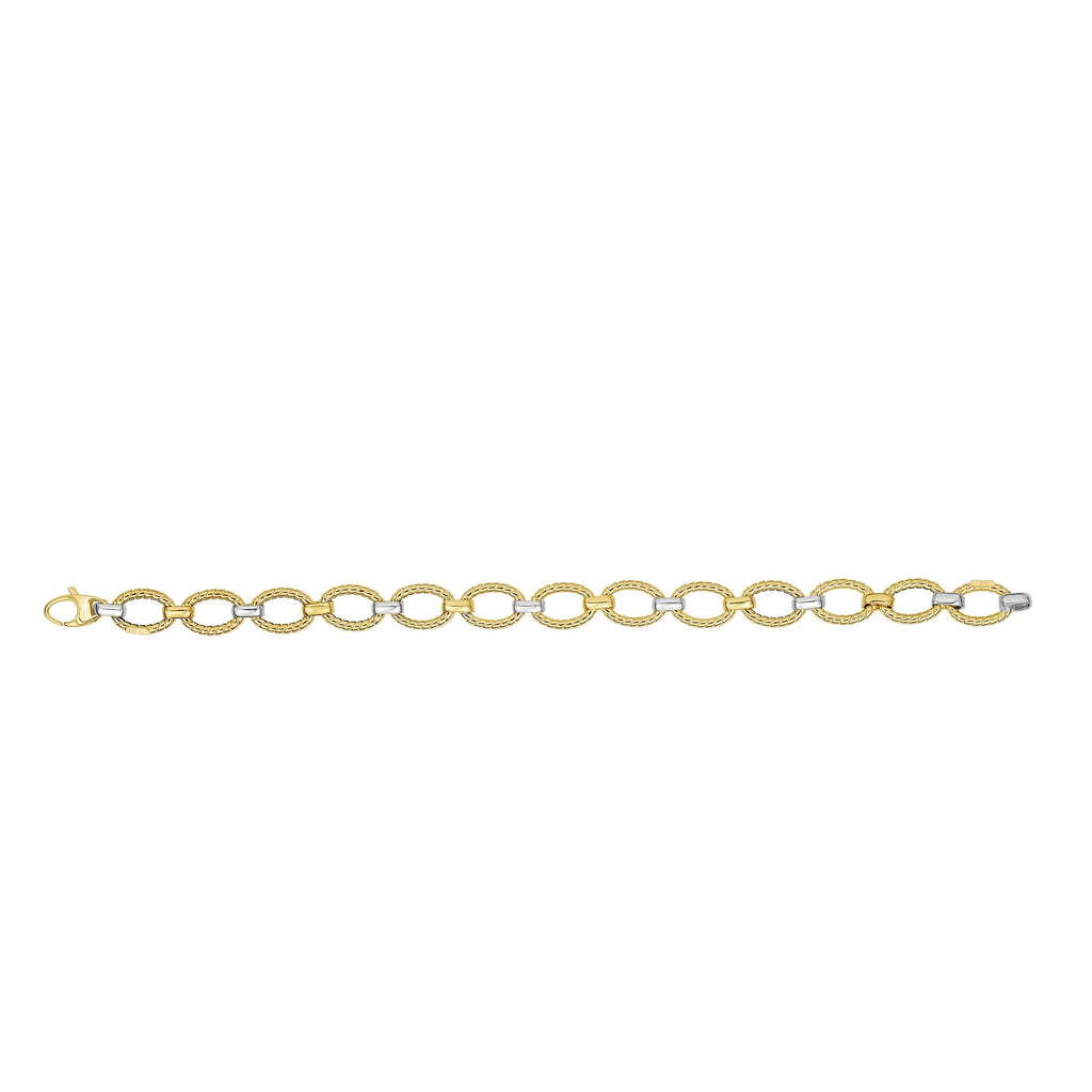 14kt 7.5 inches Yellow+White Gold Twisted Oval Link Bracelet with Lobster Clasp