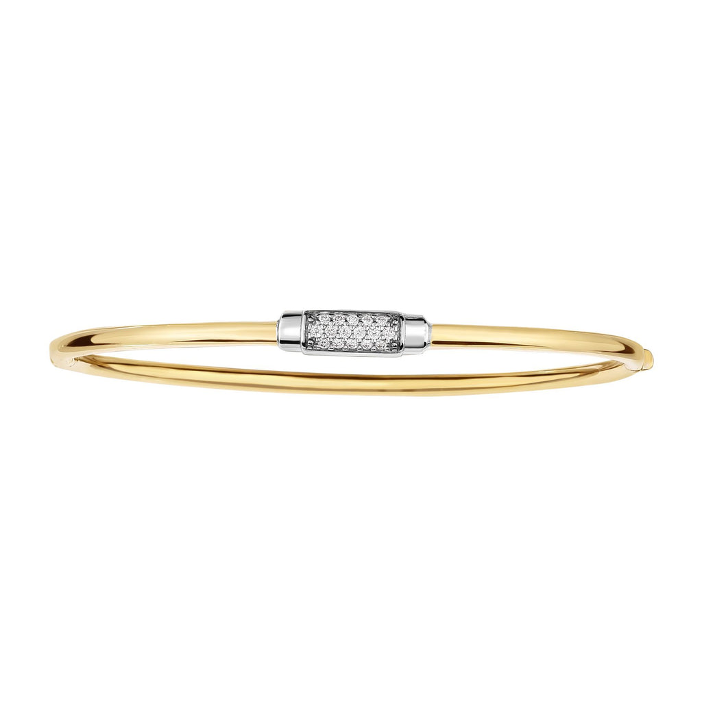 14kt 7 inches Yellow+White Gold Shiny Domed Bangle with Center Element with 0.14ct. Diamond with Box Clasp