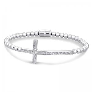 Sterling Silver and Steel Cross Bracelet with Diamonds