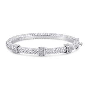 Sterling Silver and Steel Bracelet with Diamonds