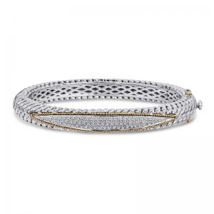 14kt Yellow Gold and Sterling Silver Bracelet with Diamonds