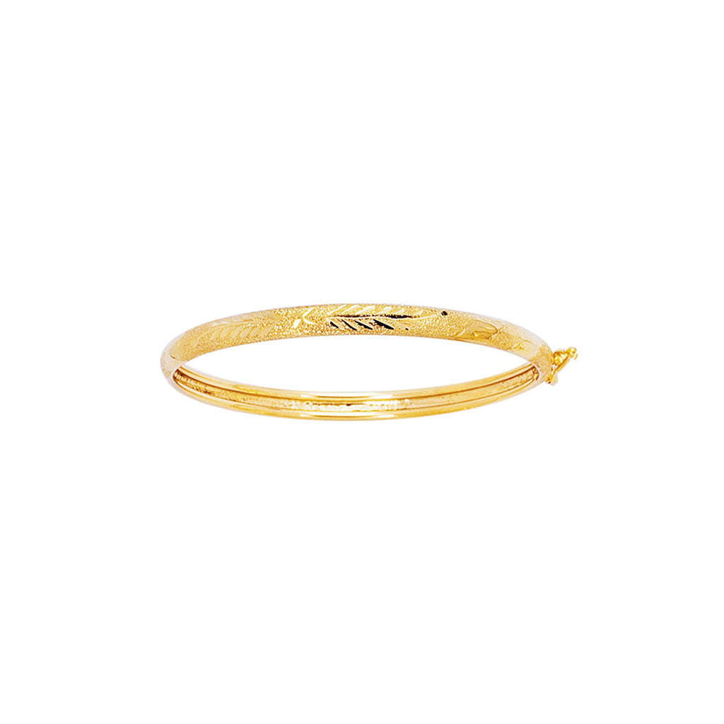 14kt 5.5mm Yellow Gold Shiny Diamond Cut Florentine Bangle with Clasp