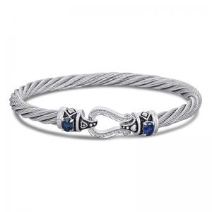 Sterling Silver and Steel Bracelet with Sapphires and Diamonds