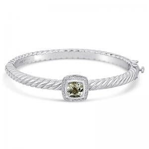 Sterling Silver and Steel Bracelet with Green Amethyst and Diamonds
