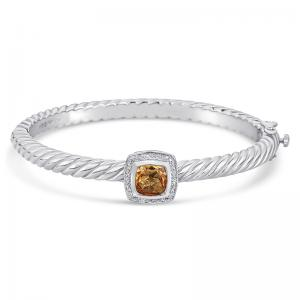 Sterling Silver and Steel Bracelet with Citrine and Diamonds