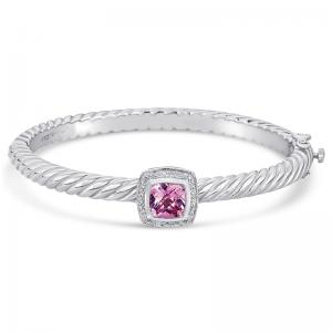 Sterling Silver and Steel Bracelet with Pink Quartz and Diamonds