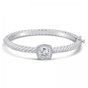 Sterling Silver and Steel Bracelet with White Topaz and Diamonds