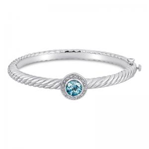 Sterling Silver and Steel Bracelet with Blue Topaz and Diamonds
