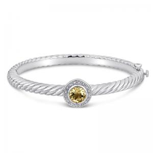 Sterling Silver and Steel Bracelet with Lemon Quartz and Diamonds