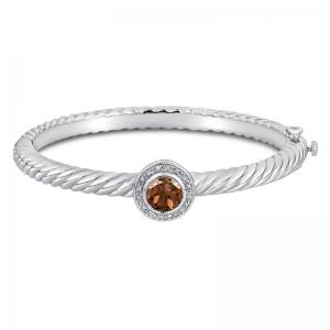 Sterling Silver and Steel Bracelet with Smoky Quartz and Diamonds