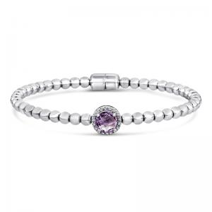 Sterling Silver & Steel Bracelet With Amethyst and Diamonds