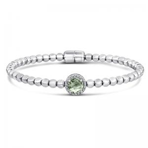 Sterling Silver and Steeel Bracelet with Green Amethyst and Diamonds