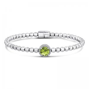 Sterling Silver and Steel Bracelet with Peridot and Diamonds