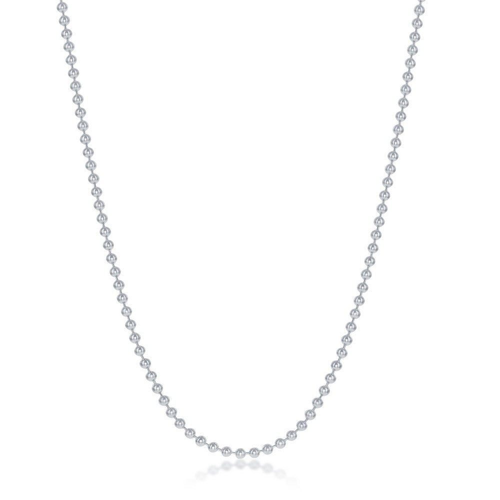 Sterling Silver 1.9mm Bead Chain - Silver Plated