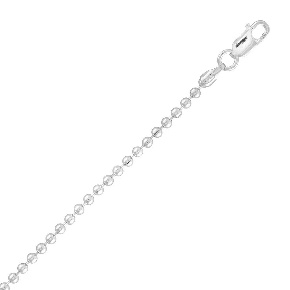 Sterling Silver 2.2mm Bead Chain - Silver Plated