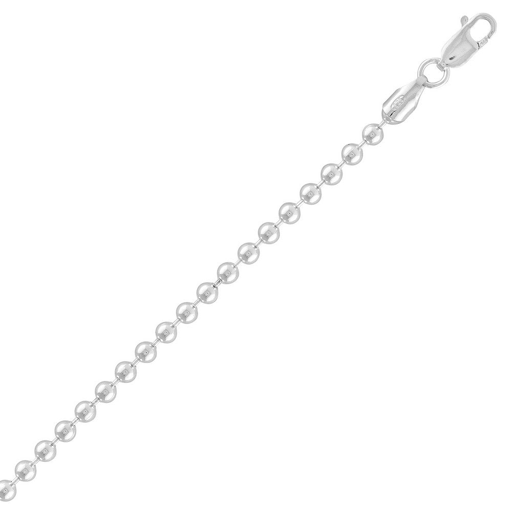 Sterling Silver 3MM Solid Bead Chain - Silver Plated