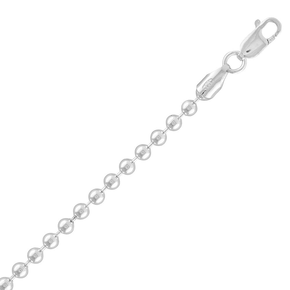 Sterling Silver 4MM Solid Bead Chain - Silver Plated