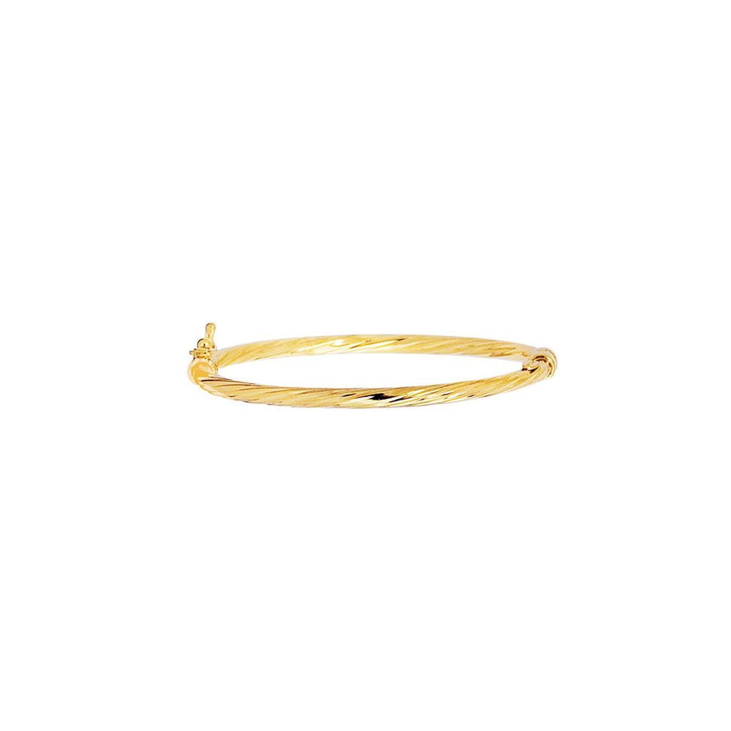 14kt Yellow Gold 5.50 inches Shiny Round Tube Twisted Bangle with Clasp