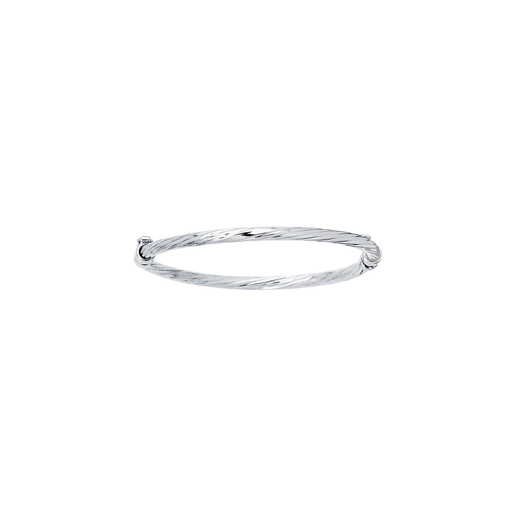 14kt White Gold 5.50 inches Shiny Round Tube Twisted Bangle with Clasp