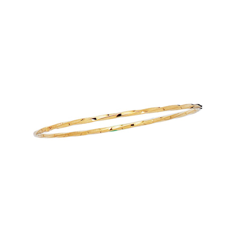 14kt 8 inches Yellow Gold 2.50mm Shiny Twisted Round Tube Stackable Bangle