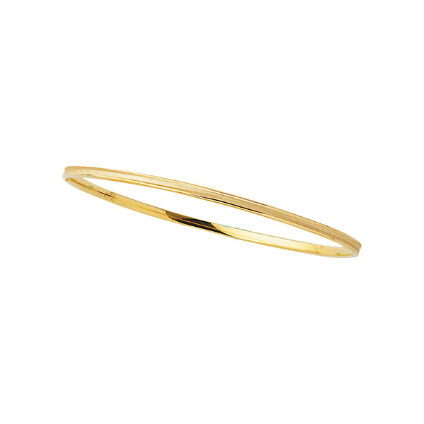 14kt 8 inches Yellow Gold 3.15mm Shiny Round Concave Stackable Bangle
