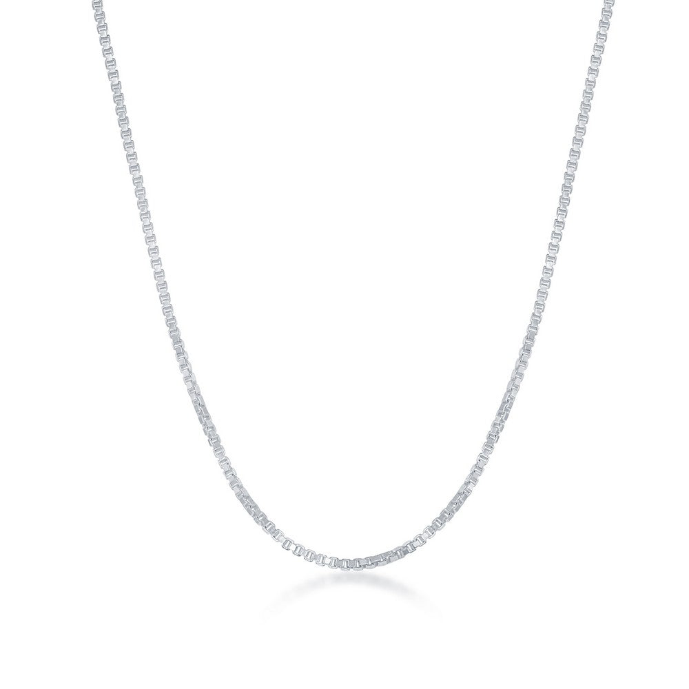 Sterling Silver 1.0mm Box Chain - Silver Plated