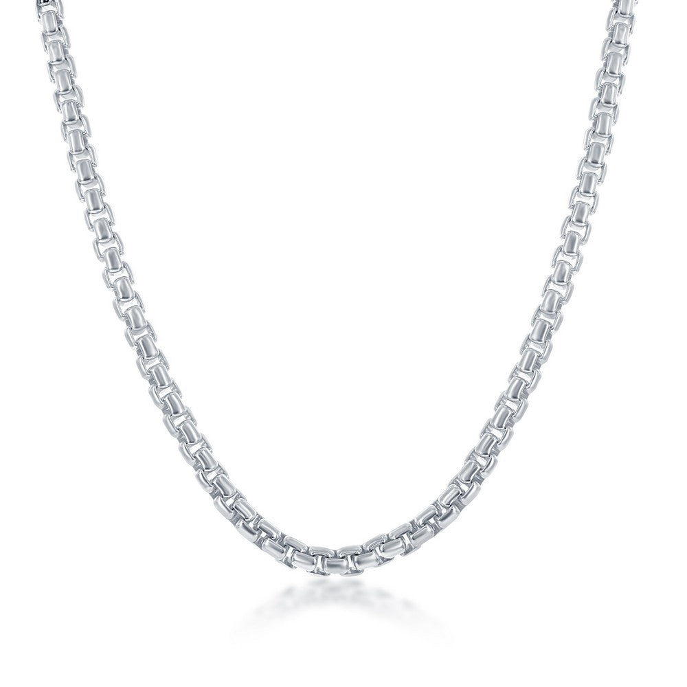 Sterling Silver 4mm Round Box Chain - Silver Plated