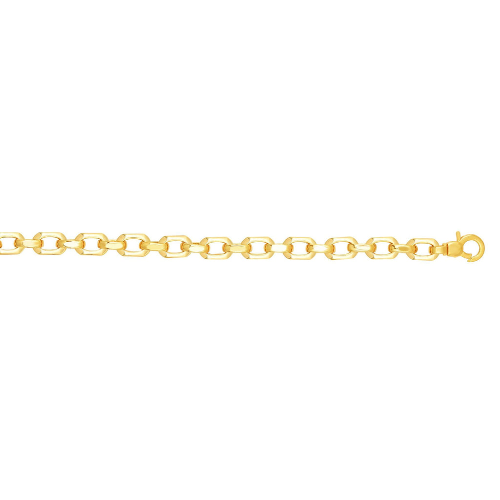 14kt Gold 7.5 inches Yellow Finish 6.8mm Shiny Oval Fancy Link Bracelet with Lobster Clasp