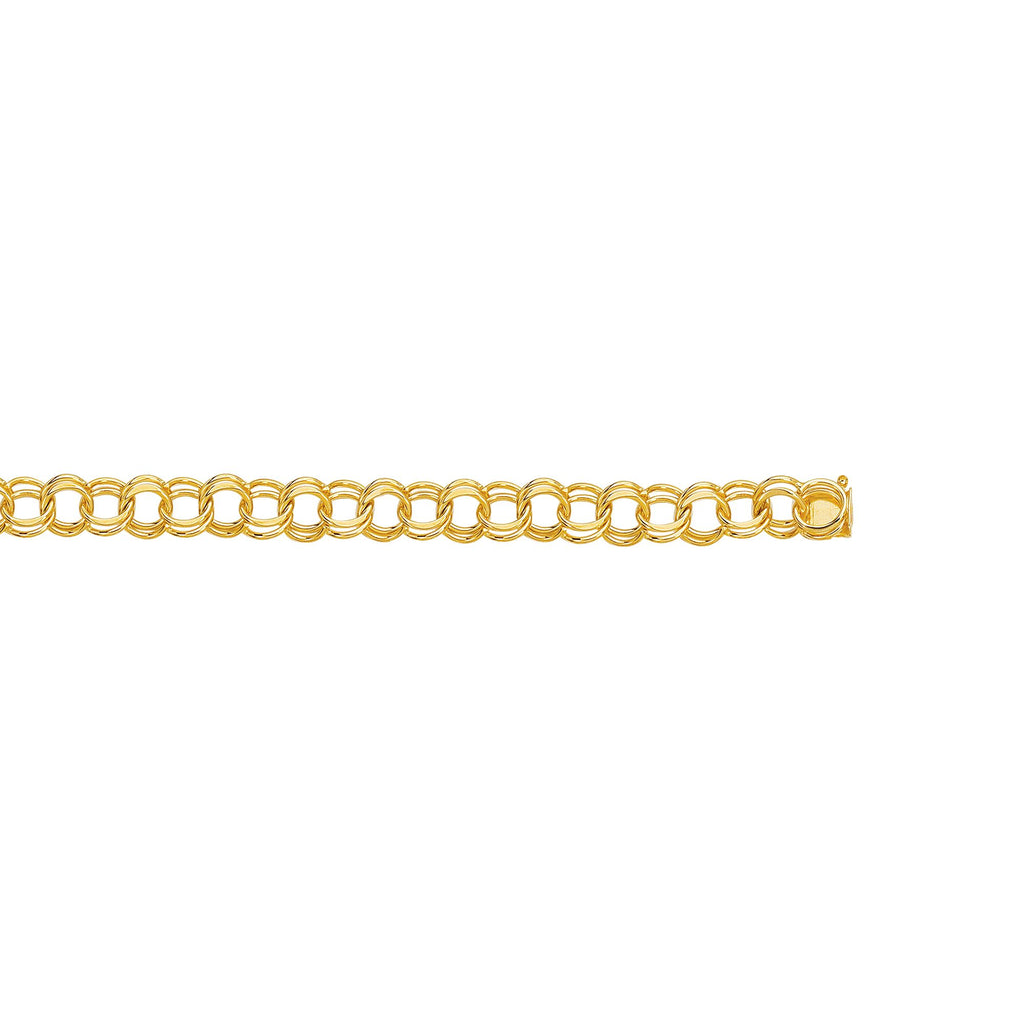 14kt 7 inches Yellow Gold Diamond Cut Double Link Charm Bracelet with Lobster Clasp