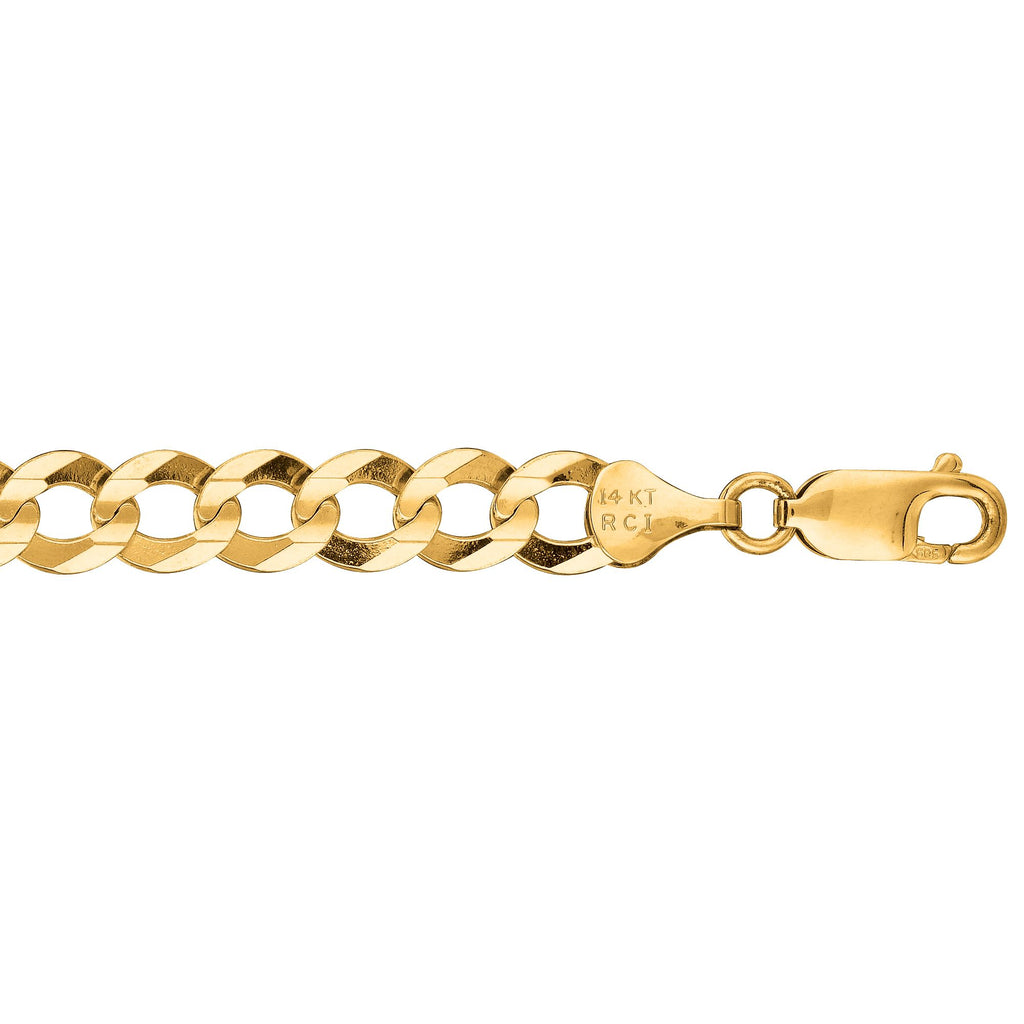 14kt 8.50 inches Yellow Gold 7.0mm Diamond Cut Comfort Curb Chain with Lobster Clasp