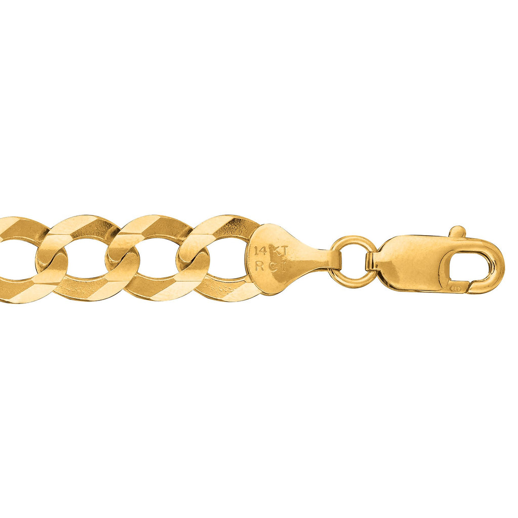 14kt 8.50 inches Yellow Gold 10.0mm Diamond Cut Comfort Curb Chain with Lobster Clasp