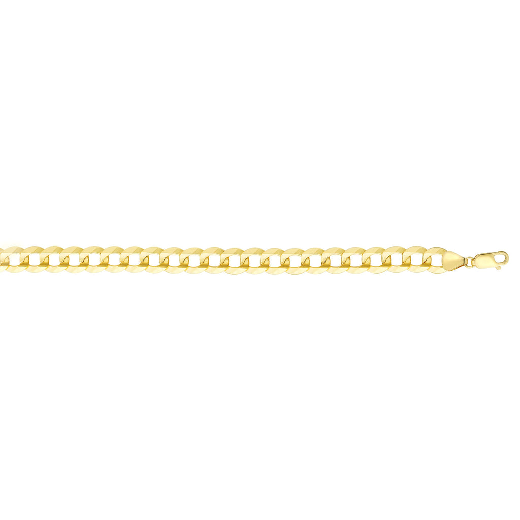 14kt Gold 8.75 inches Yellow Finish 11.23mm Polished Curb Link Comfort Curb Bracelet with Lobster Clasp