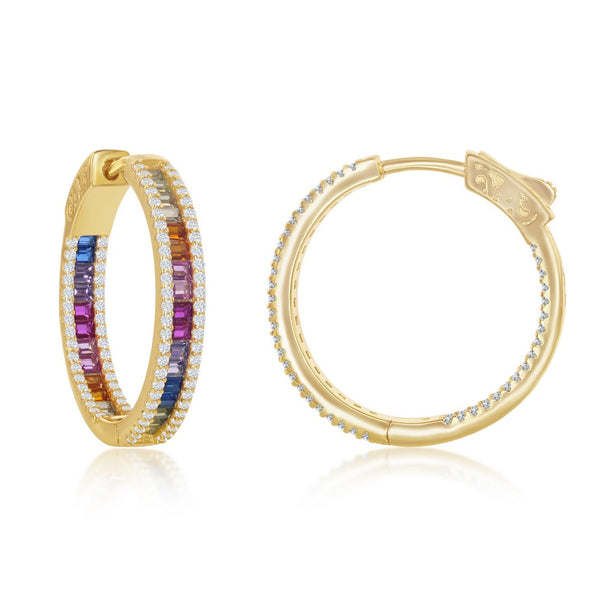 Sterling Silver 4x25mm Center Rainbow Channel-Set  and White CZ Border Hoop Earrings - Gold Plated