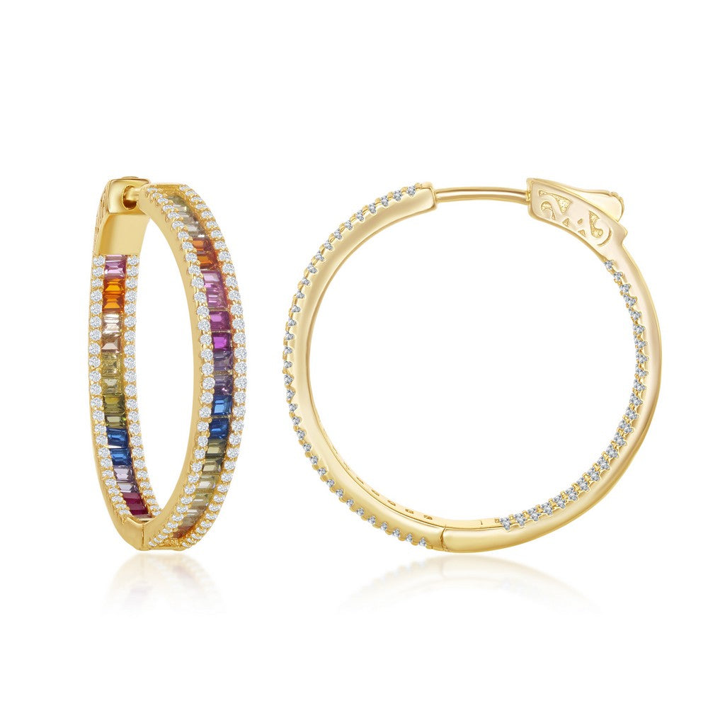 Sterling Silver 4x30mm Center Channel Set Rainbow and White CZ Border Hoop Earrings - Gold Plated