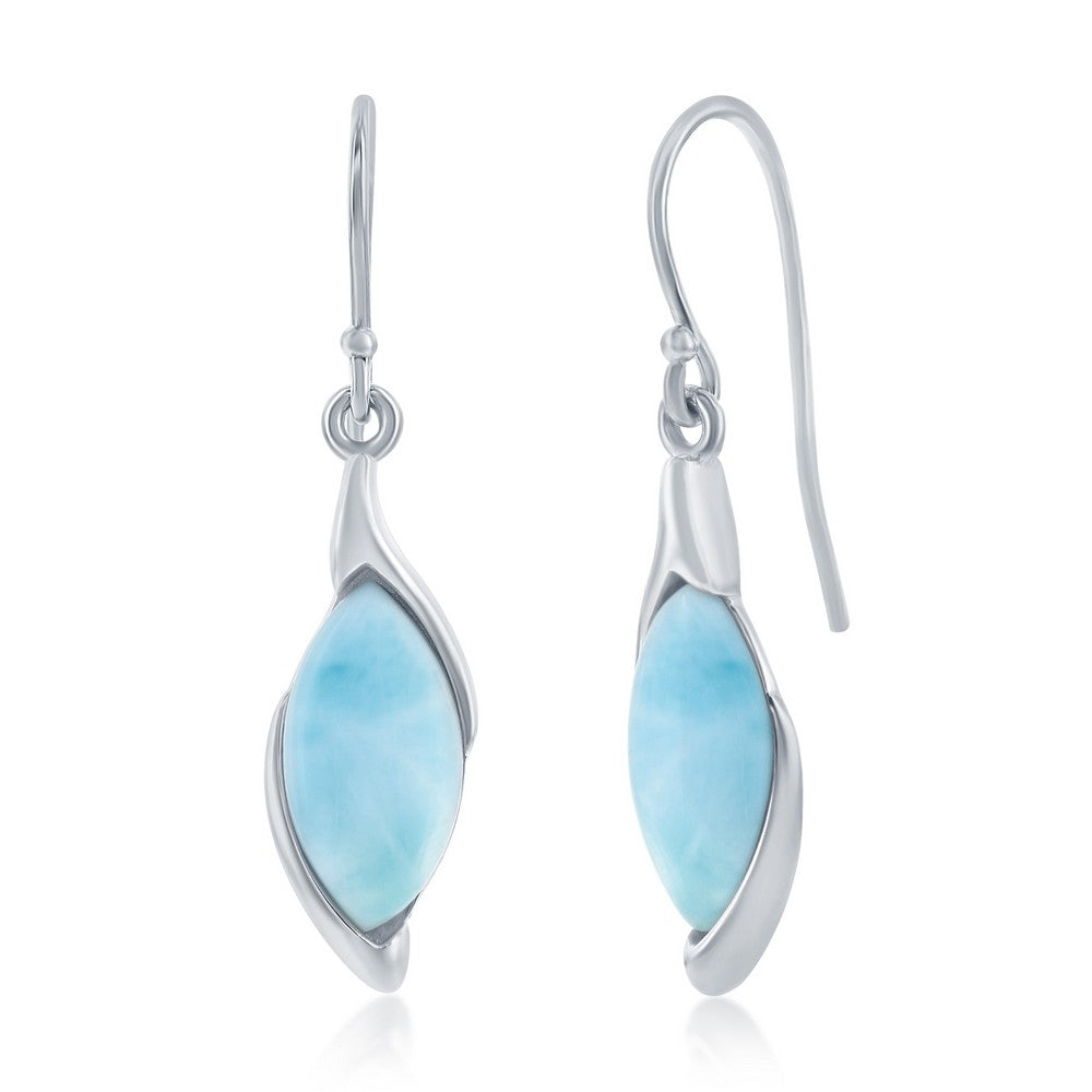 Sterling Silver Marquise Larimar Earrings
