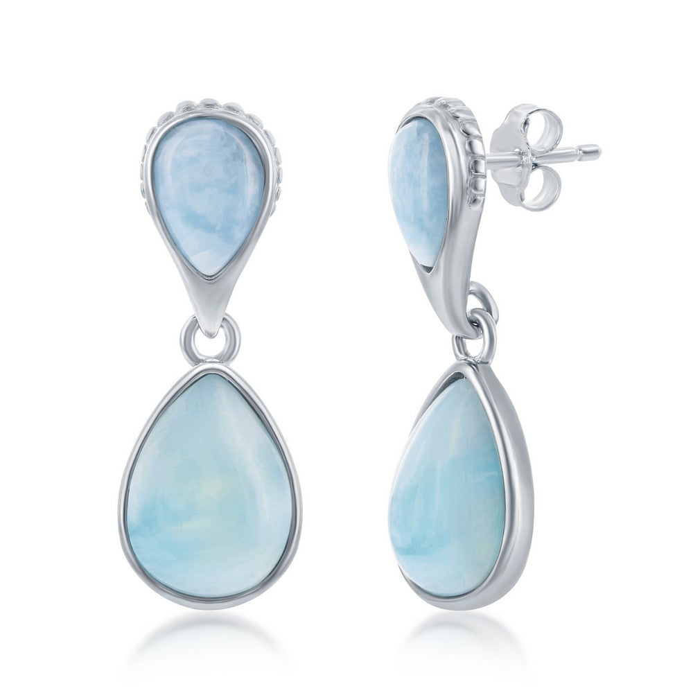 Sterling Silver Double Pearshaped Larimar Earrings