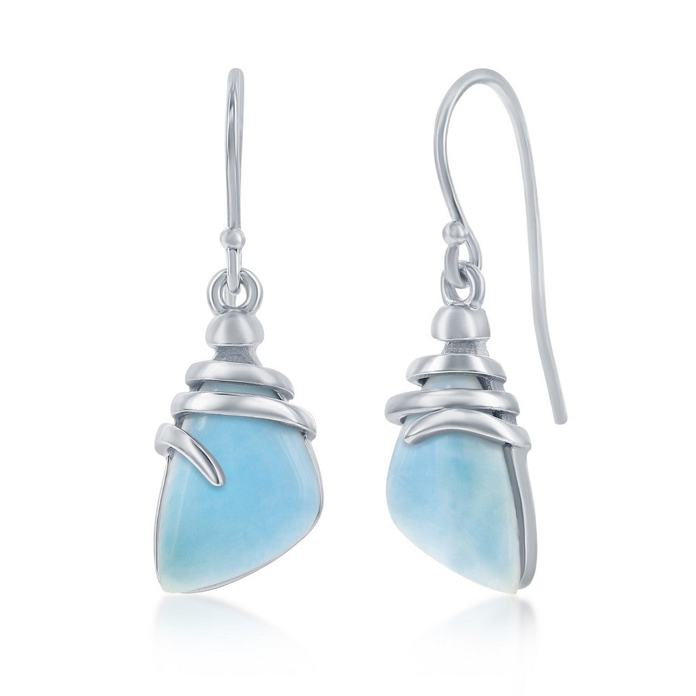 Sterling Silver Irregular Shaped Larimar Twist Design Earrings