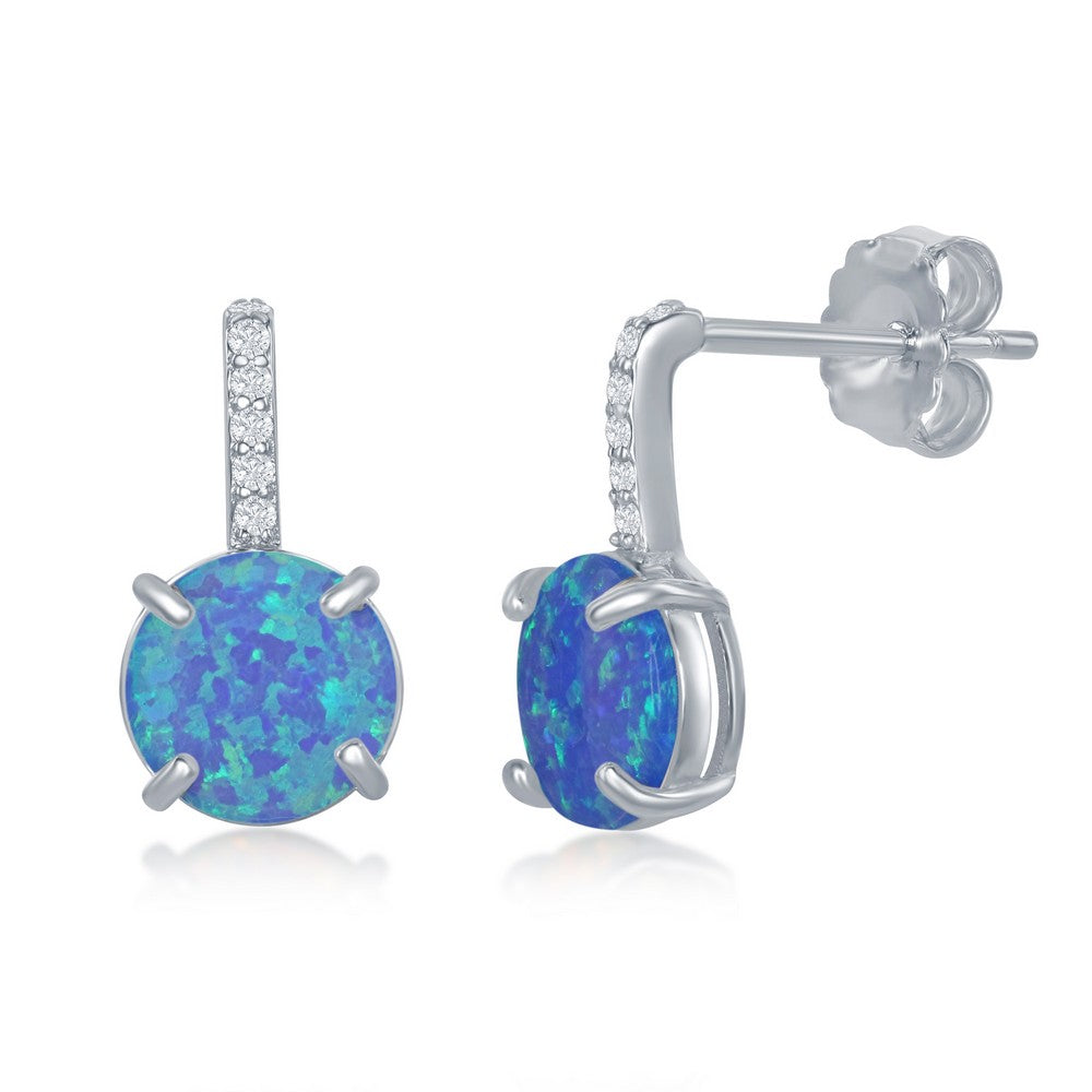 Sterling Silver CZ Bar Prong Round Blue Opal Earrings
