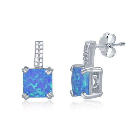 Sterling Silver Beaded Bar Prong Square Blue Opal Earrings