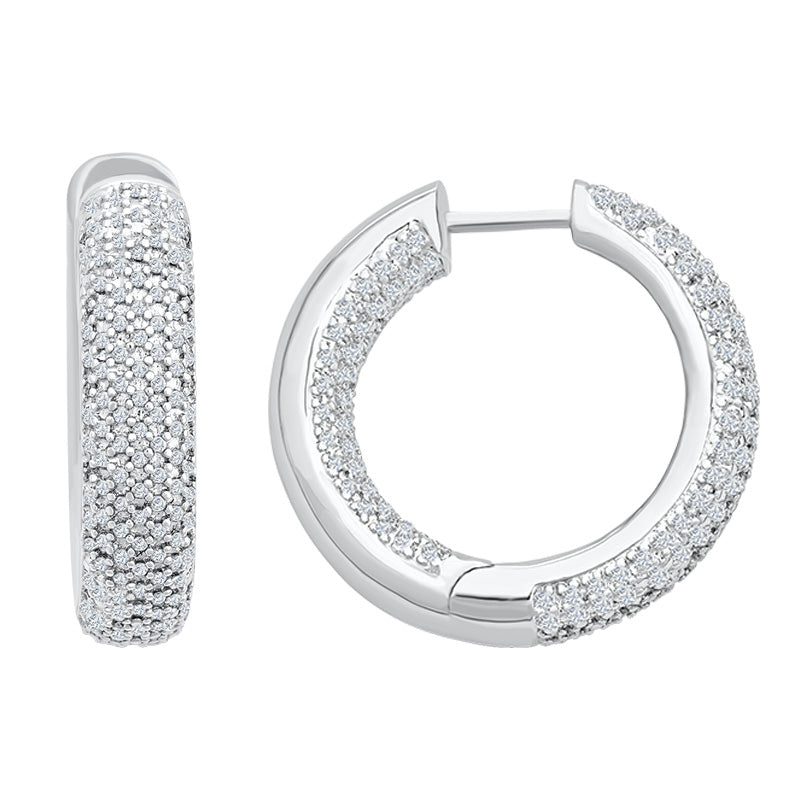 Sterling Silver 'In/Out' Hoop Earrings with Diamonds