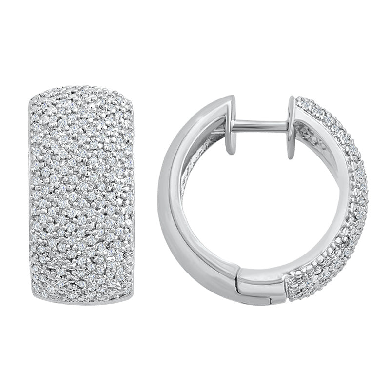 Sterling Silver Hoop Earrings with Diamonds