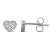 Sterling Silver Heart Earrings with Diamonds