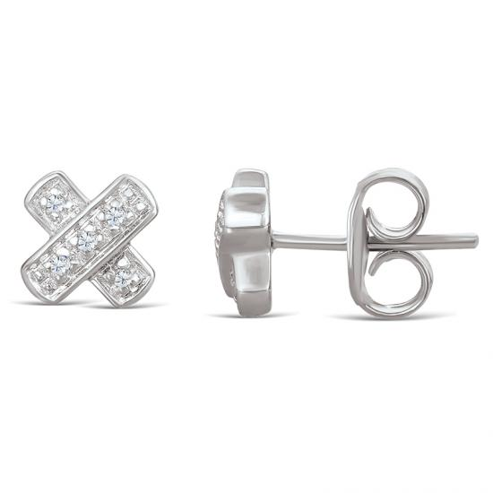 Sterling Silver 'X' Stud Earrings with Diamonds