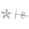 Sterling Silver Flower Earrings with Diamonds