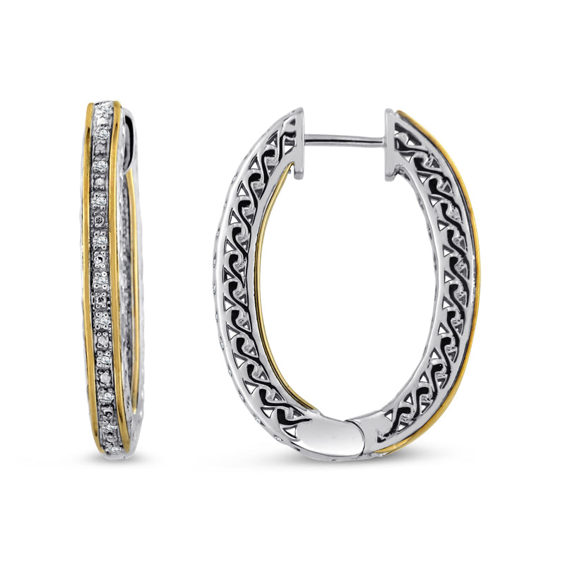 14kt Gold and Sterling Silver Hoop Earrings with Diamonds