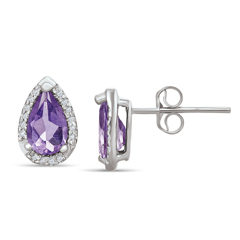 Sterling Silver Earrings with Amethyst and Diamonds