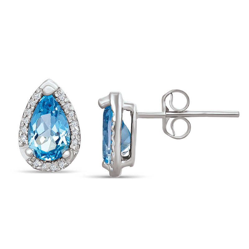Sterling Silver Earrings with Blue Topaz and Diamonds