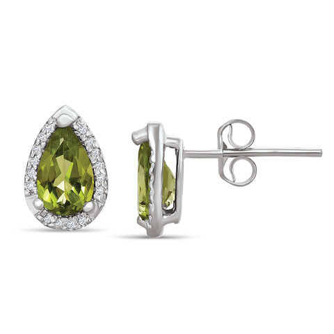 Sterling Silver Earrings with Peridot and Diamond