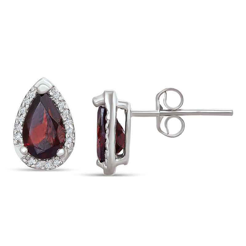 Sterling Silver Earrings with Garnet and Diamond