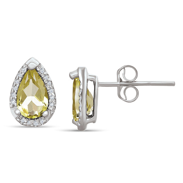 Sterling Silver Earrings with Lemon Quartz and Diamond